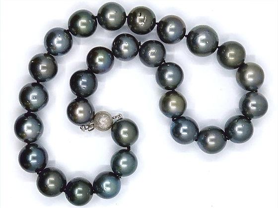 Tahitian Necklace Dark grey / Dark Green 12 -14mm