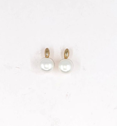 9ct and 6mm fresh water button earrings