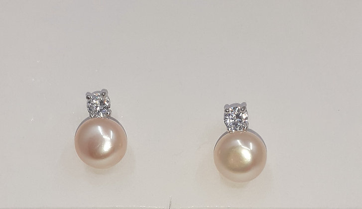 Pink SalmonFreshwater pearl, set on Sterling Silver, with Sparkling CZ