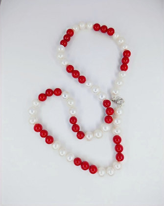 Fresh Water Pearl and Sea Bamboo Necklace