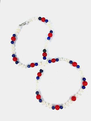 "Sea Bamboo , Lapiz Lazuli and Pearl Necklace 20""    04"