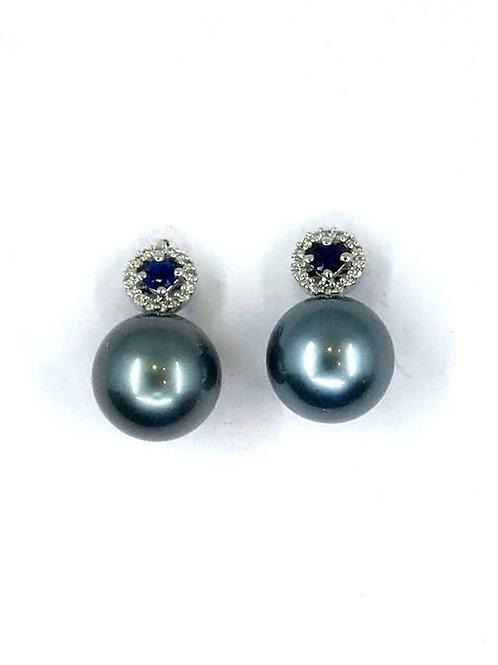 Tahitian and Sapphire Earrings