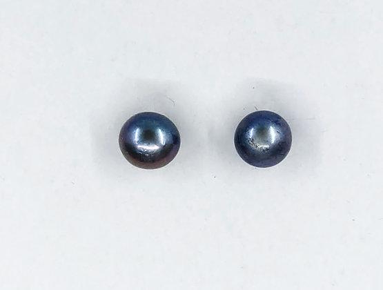 7mm black fresh water silver earrings