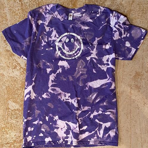 Bleach Dyed Happy Tshirt (Purple)