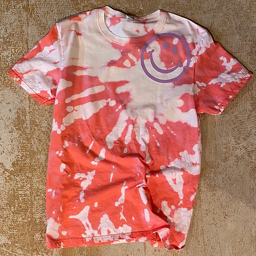 Bleach Dyed Happy Tshirt (Coral)