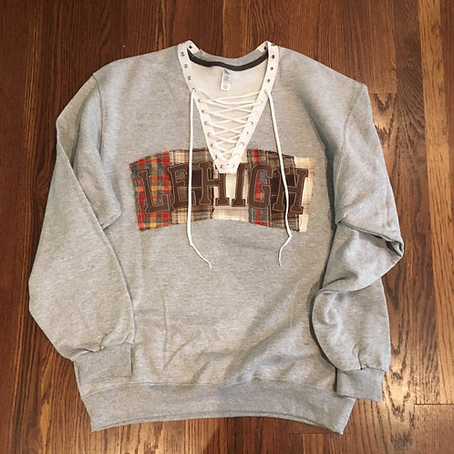 Flannel Patched College Sweatshirt