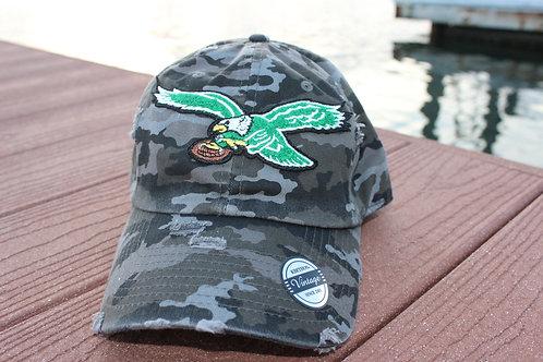 Distressed Camo Baseball Cap with Bird