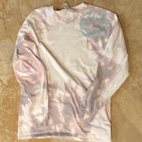 Bleach Dyed Happy Tshirt (Sand)