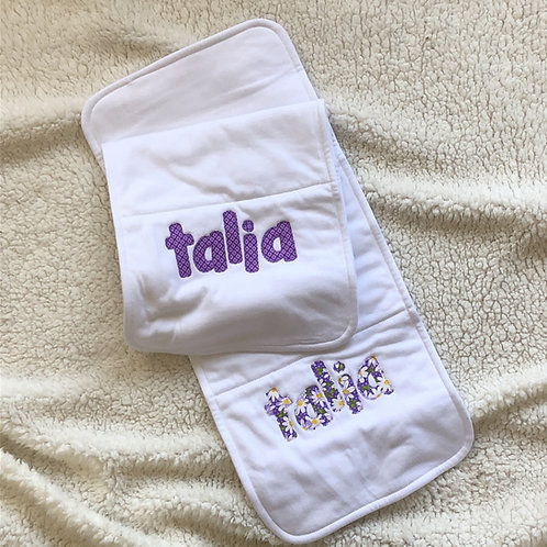 Personalized Burp Cloth for Girls set of 2