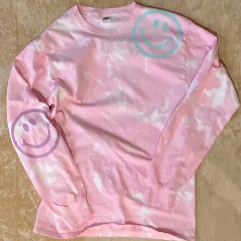 Bleach Dyed Happy Tshirt (Pink)