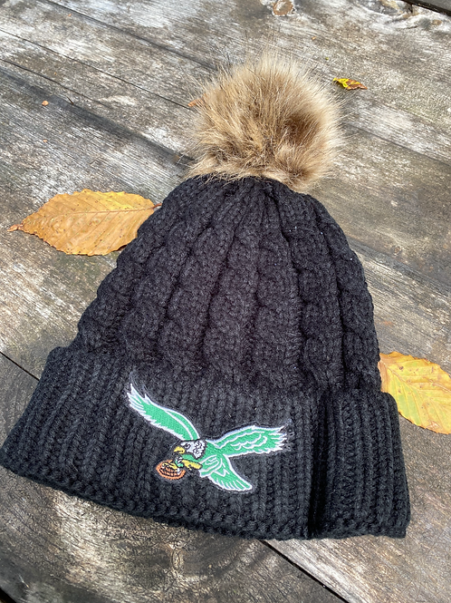 Winter Hat with Faux Fur Brown PomPom