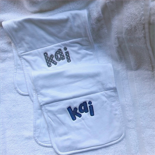 Personalized Burp Cloth for Boys set of 2