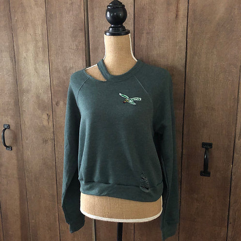 """Cropped """"First Down"""" Sweatshirt with Retro Patch"""
