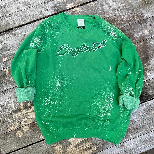 Kelly Green Bleach Spotted Sweatshirt