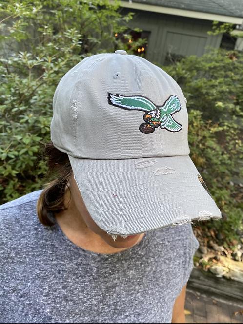 Distressed Baseball Cap with Bird