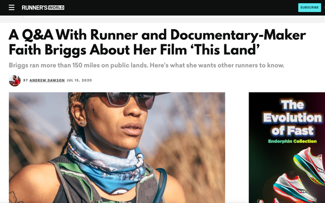 A Q&A With Runner and Documentary-Maker Faith Briggs About Her Film 'This Land'