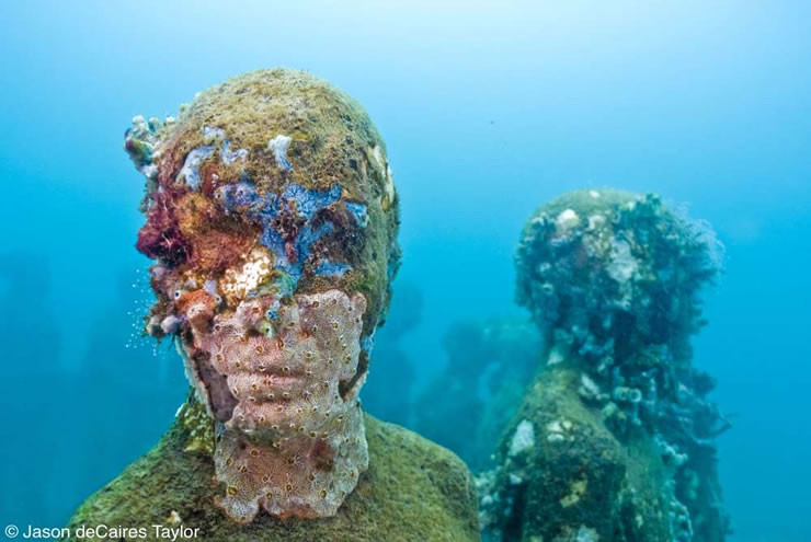 sculpture, classical, modern, art, artist, howl magazine, sculptors you should know, new york, art, fine art, underwater, coral reef, scuba diving, jason decaires taylor,