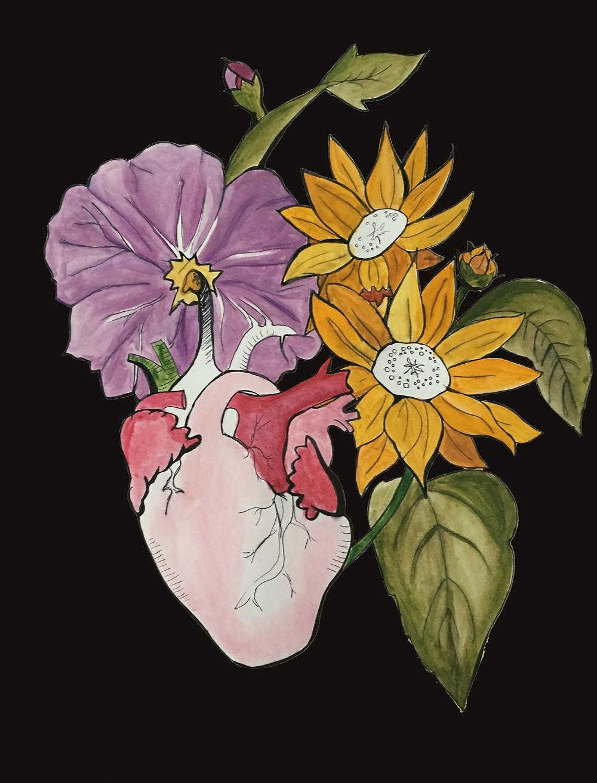 bloom, julia de la torre, jesse alexander gassongo, london, art show, movie screening, artist, illustration, flower, heart,