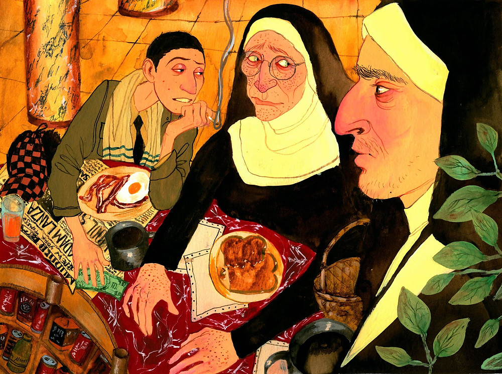 Sara Lorelei Jackson, Greenwich, Connecticut, manhattan, surreal, art, dark humor art, artist, woman, female, dark, cartoon, sex, urban, mythical, painting, illustration, interview, howl magazine, new york, nyc, nuns smoking