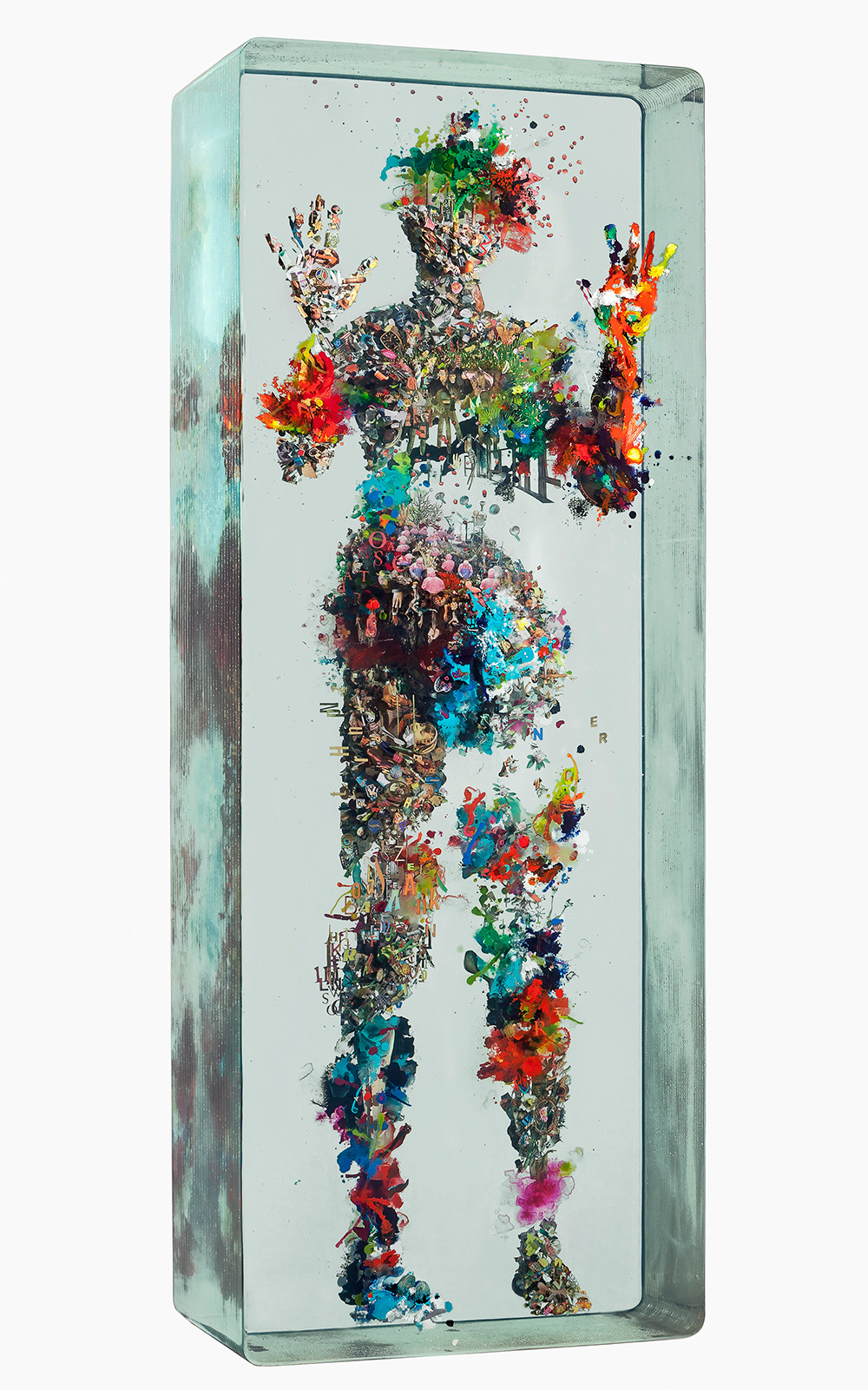 sculpture, classical, modern, art, artist, howl magazine, sculptors you should know, new york, art, fine art, collage, dustin yellin, pioneer works, redhook brooklyn, yellin, 3d collage, glass, layered glass, dystopian, bosch