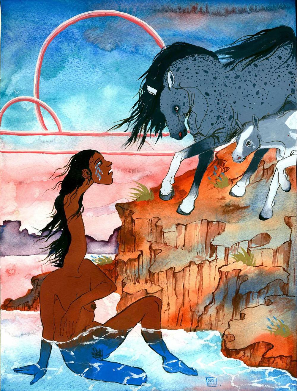 Sara Lorelei Jackson, Greenwich, Connecticut, manhattan, surreal, art, dark humor art, artist, woman, female, dark, cartoon, sex, urban, mythical, painting, illustration, interview, howl magazine, new york, nyc, horse