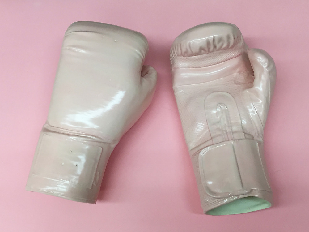 jen dwyer, ceramic, porcelain, pussy, feminism, vagina, dont grab my pussy, paris, brooklyn, nails, untitled space, interview, howl new york, howl magazine, nyc, sculpture, boxing gloves, pink
