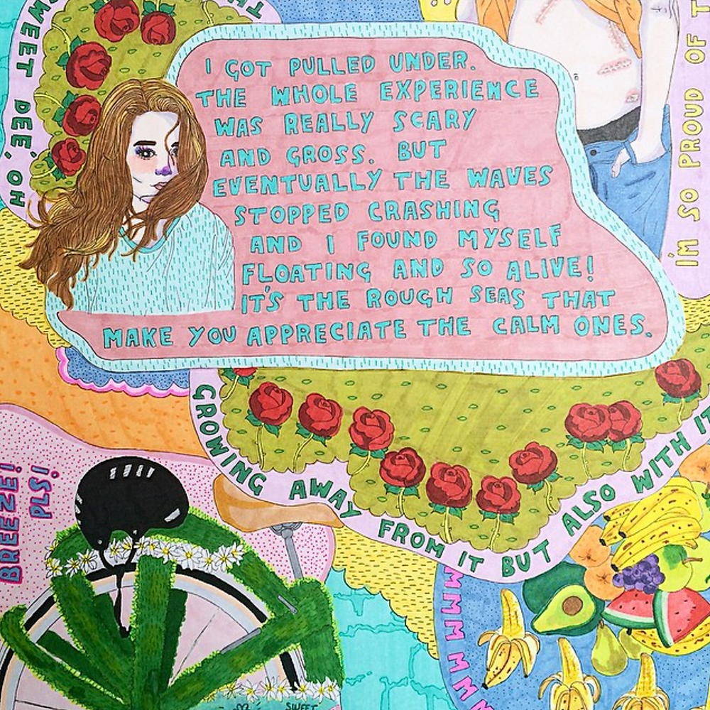 interview, artist feature, howl magazine, new york, illustrator, feminist, body positivity, woman, period, mental illness, montana kitching, australian artist