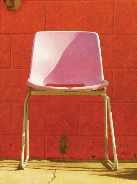 michael ward, hyper-realism, realism, photo, painting, painter, montana artist, montana, glacier, artist, california, urban, ordinary, art, howl magazine, interview, feature, sixties, pink, chair, red
