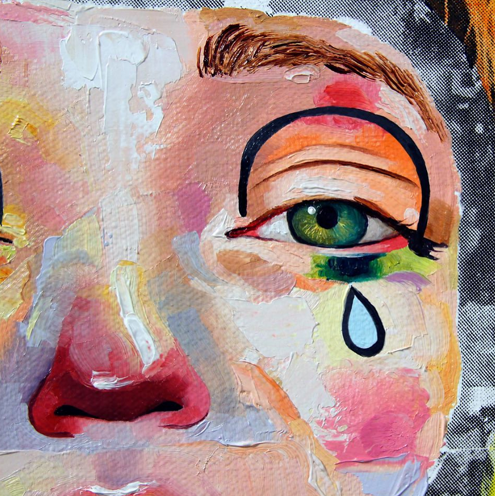 AUTHORIZED, to, work, in, the, USA, print press, brooklyn, am debrincat, debrincat, art show, free, nyc, painter, multimedia, events this week, weekend, new york, art, fine art, gallery, galleries, artist, female artists, paint, risograph, howl magazine, new york, clown, crying, modern, art, paint, oil, colors, closeup, eyes, green eyes