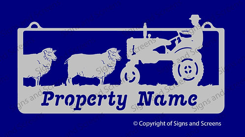 Sheep and Tractor Farm Sign
