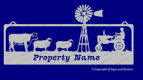 Tractor- Cow and sheep with Windmill Sign
