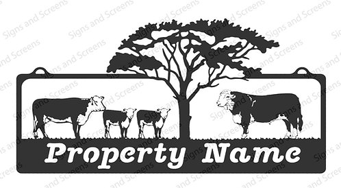 Hereford Bull, cows, calves and tree Farm Sign 1
