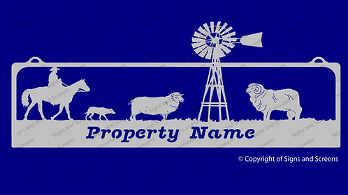 Mustering sheep with Windmill Sign