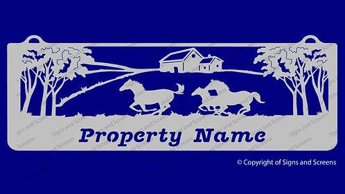 Horses Running Farm Sign