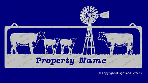 Cattle Farm Sign with Windmill