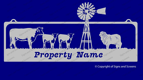 Cattle Ram and Windmill Sign