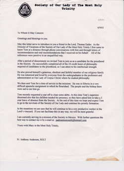 FR Tony letter of introduction