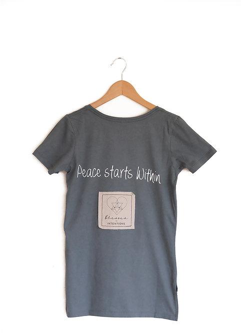 Peace Within - short sleeve T- smokey green