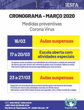 Cronograma de aulas - Março 2020