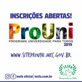 PROUNI 2019 - 2º Semestre
