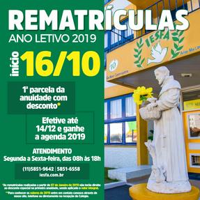 Nova data para Rematrículas - ano letivo 2019