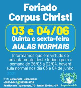 Feriado Corpus Christi - 2021