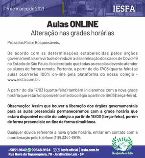 Fase emergencial - aulas online