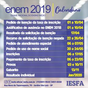 ENEM 2019 - Calendário