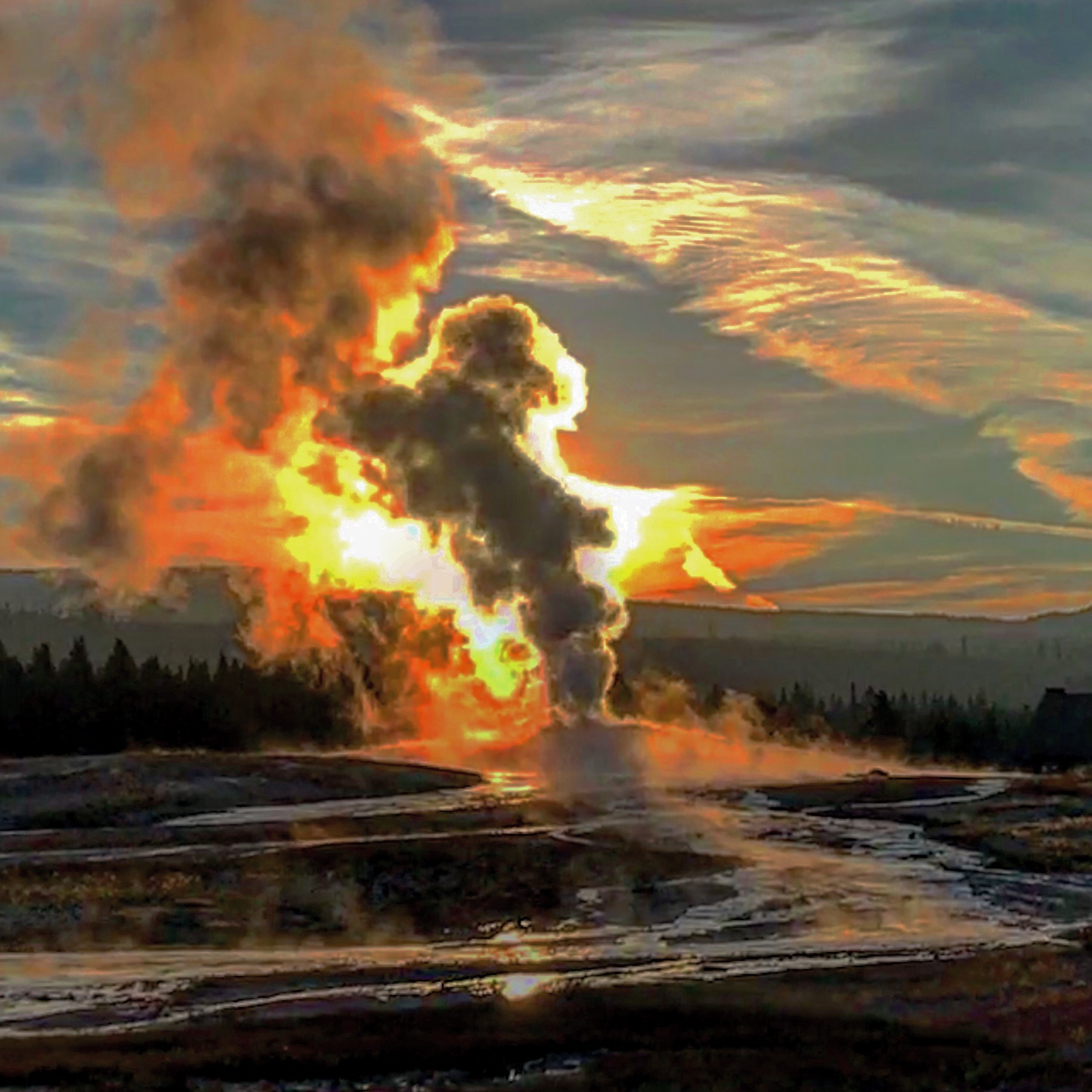 Sunrise at Old Faithful