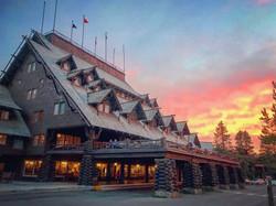 Old Faithful Inn at sunset