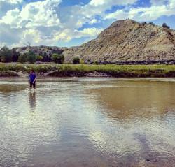 Matt crossing the Little Missouri