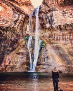 Karen at Lower Calf Creek Falls