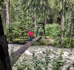 Lolly crossing the suspension bridge
