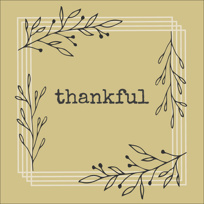 Thankful Thanksgiving post template for social media with tan background and Fall leaves